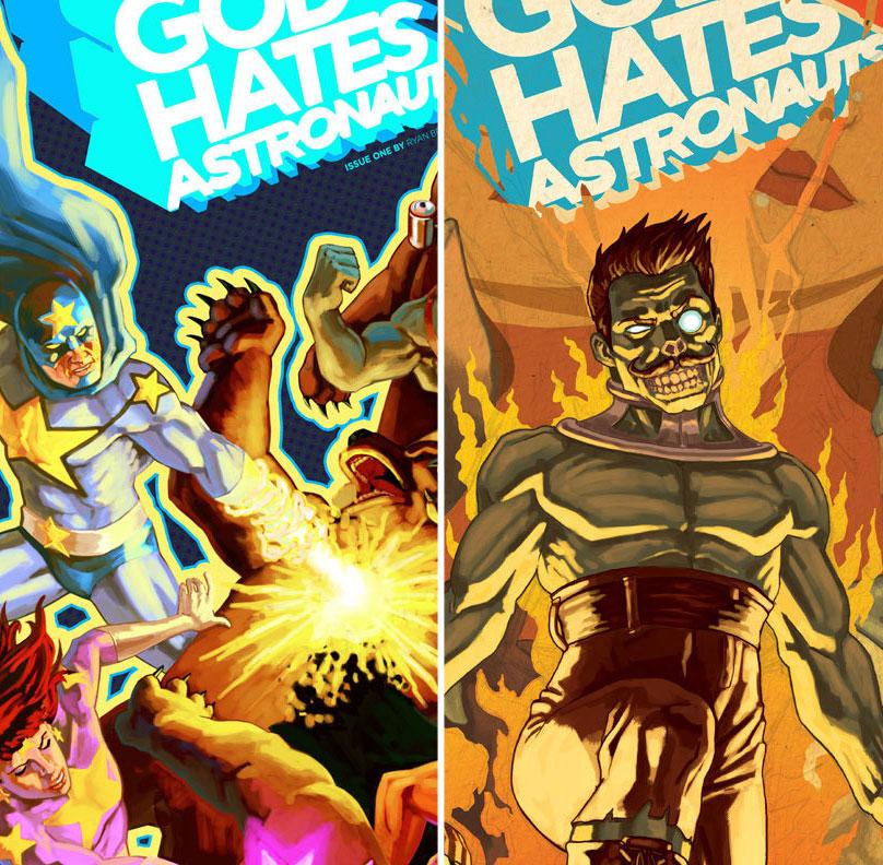 God Hates Astronauts #1 & #2 covers
