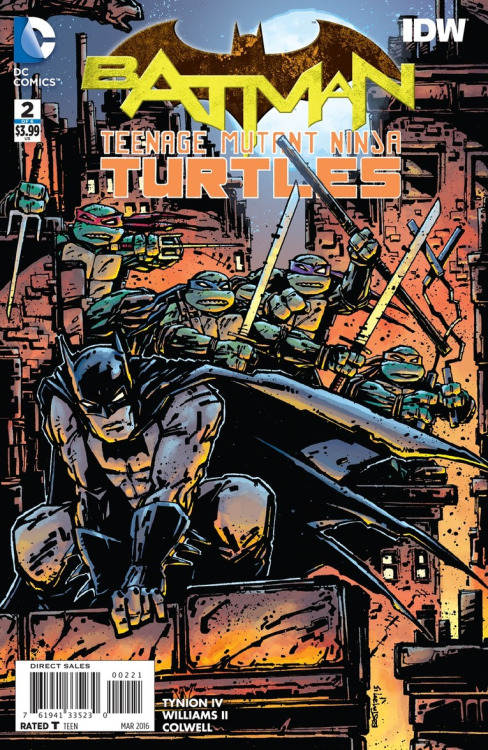 Batman/TMNT #2 Cover Art by Kevin Eastman & Colors by Tomi Varga