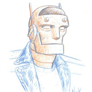 Nick Derington sketching Robotman on Sketching Spotlight at Thought Bubble Festival 2017